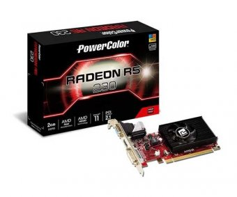 Placa de Vídeo Amd R5 230 2gb Ddr3 64bits Power Color Axr5 230 2GBK3-HE
