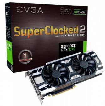 Placa de Vídeo Evga Geforce Gtx 1070 8gb Sc2 256bit 08g-p4-6573-kr