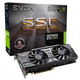 Placa de Vídeo Vga Nvidia Evga Geforce Gtx 1060 6gb Ssc Acx 3.0 Gddr5 06g-p4-6267-kr