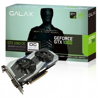 Placa de Vídeo VGA NVIDIA Galax GEFORCE GTX 1060 OC 3GB 192Bits 8008MHZ DVI/HDMI/DP 60NNH7DSL9C3