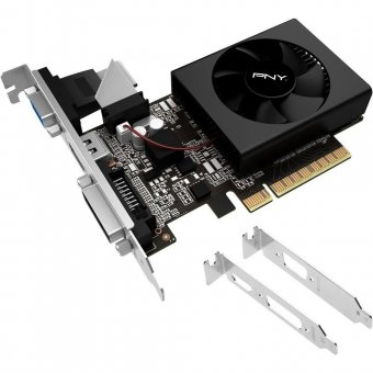 PLACA DE VÍDEO VGA NVIDIA PNY GT 730 1GB DDR3 64BITS LOW PROFILE BLACK BOX VCGGT7301D3LXPBBB