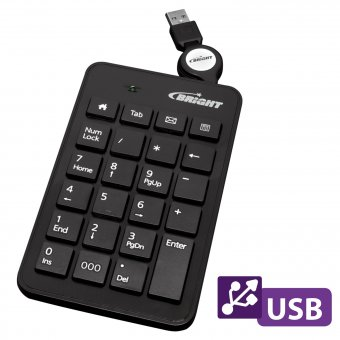 TECLADO NUMERICO BRIGHT PRETO USB 0134
