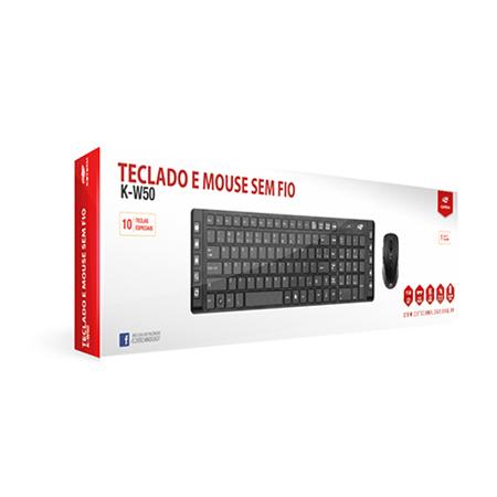 KIT Teclado e Mouse C3 Tech Sem fio Teclas Multimídia USB Preto K-W50BK