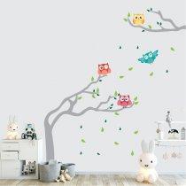 Imagem - Adesivo de Parede - Árvore e Corujas - ADE634