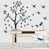 Imagem - Adesivo de Parede - Árvore e Pássaros  - ADE609