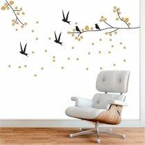 Imagem - Adesivo de Parede - Folhas e Pássaros - ADE608