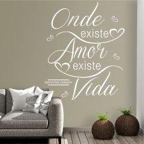 Imagem - Adesivo Parede Frase Onde Existe Amor Existe Vida ADE033 - ADE033