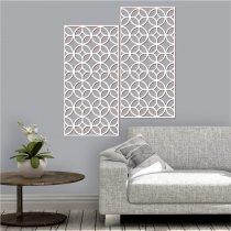 Imagem - Quadro vazado decorativo Geométrico 2Pçs MDF - Branco -PA069 - 2PA069