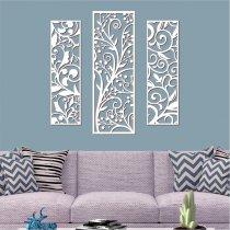 Imagem - Quadro vazado decorativo 1Pç 55x16 + 2pçs 65x22 Branco-PA072 - 2PA072