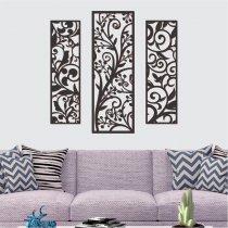Imagem - Quadro vazado decorativo 1Pç 55x16 + 2pçs 65x22 Preto -PA072 - PA072