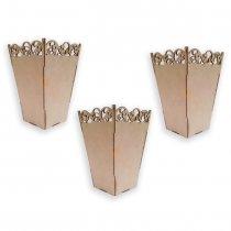 Imagem - Kit com 3 Cachepots Flores em Mdf - Centro De Mesa - CP001 - CP001