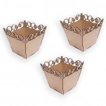 Imagem - Kit com 3 Cachepots Flores em Mdf - Centro De Mesa - CP002 - CP002