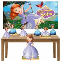 Imagem - Kit decoração Totem Display 7pçs+painel- Princesinha Sophia - LT023