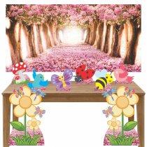 Imagem - Kit decoração de festa totem 8pçs+painel - Jardim Encantado - LT029
