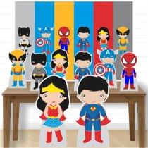 Imagem - Kit decoração de festa totem display -8pçs+painel - Heróis - LT004