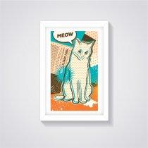 Imagem - Quadro Decorativo - Gato Meow - Ps279 - Ps279
