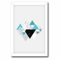 Imagem - Quadro Decorativo Triângulos Azul e preto - Ps198