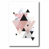 Imagem - Quadro Decorativo Triângulos Rosa e preto - Ps196