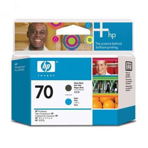 Cabeça de Impressão HP 70 Preto Mate e Ciano C9404A