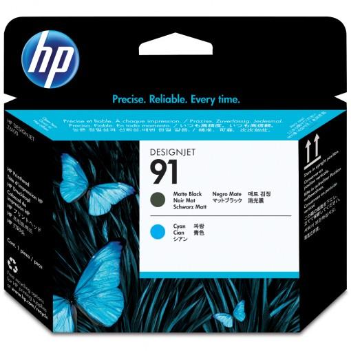 Cabeça de Impressão HP 91 Preto Mate e Ciano C9460A