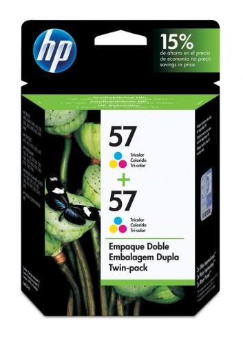 Cartucho HP 57 Tricolor 18 ml Embalagem Dupla C9320FL (2x C6657AB)