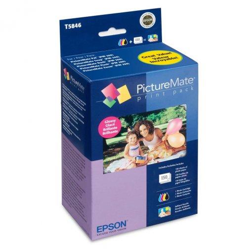 Kit Picturemate PM225 p/150 fotos (glossy/brilhante) T5846 Epson CX 1 UN