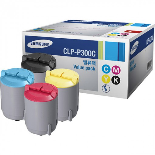 Toner Samsung CLP-P300C Kit com 4 unidades - CLP-K300, CLP-C300,CLP-M300, CLP-Y300