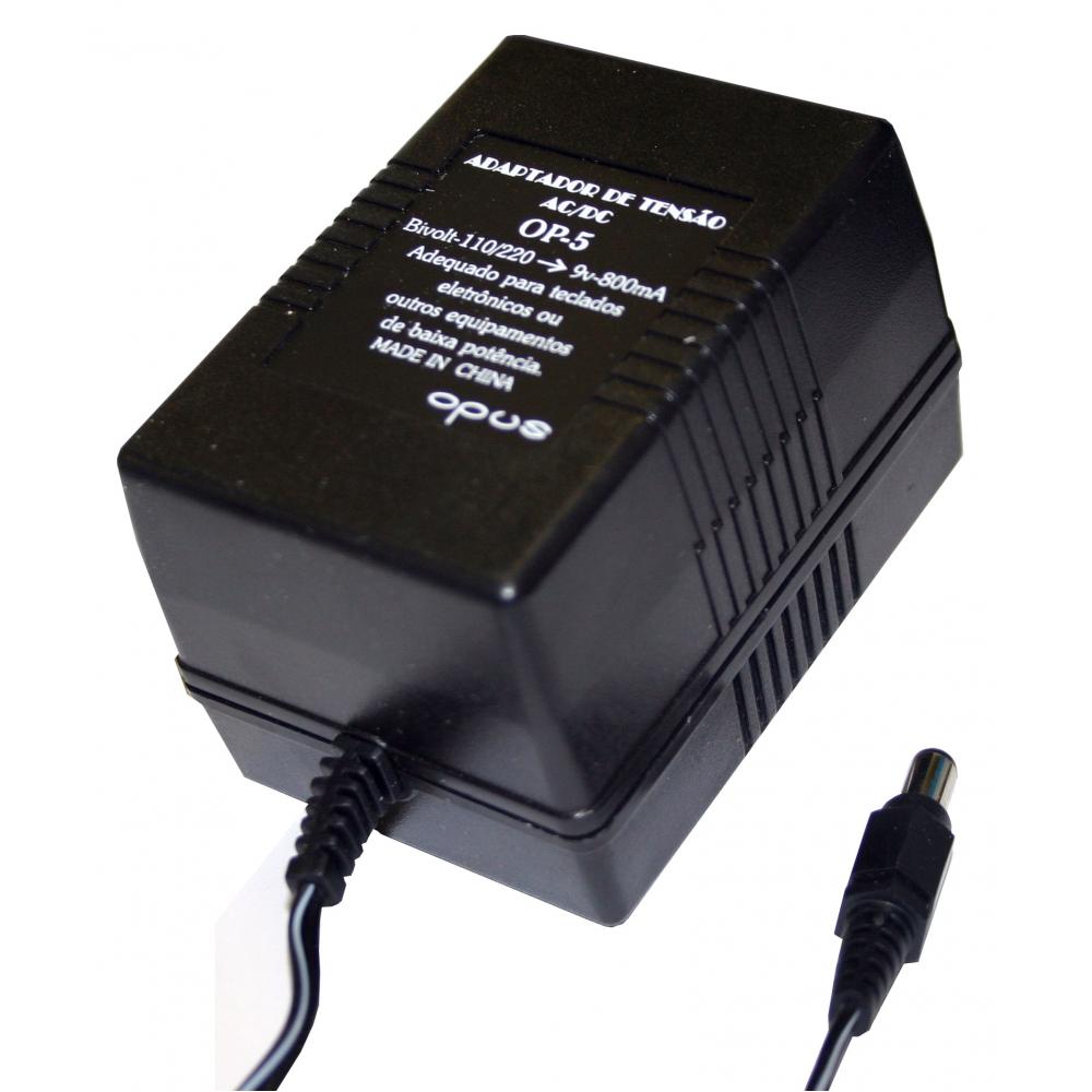Eliminador de pilhas 800 mA - AC bivolt / DC 9 V - OPUS
