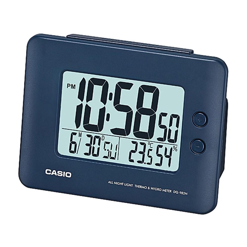 Relógio despertador digital Casio Azul marinho, com calendário e termômetro DQ-982N-2DF