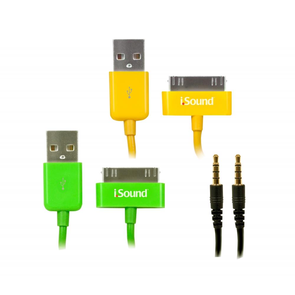 Kit com cabos para carga, sincronismo e áudio de iPad, iPhone ou iPod - ISOUND