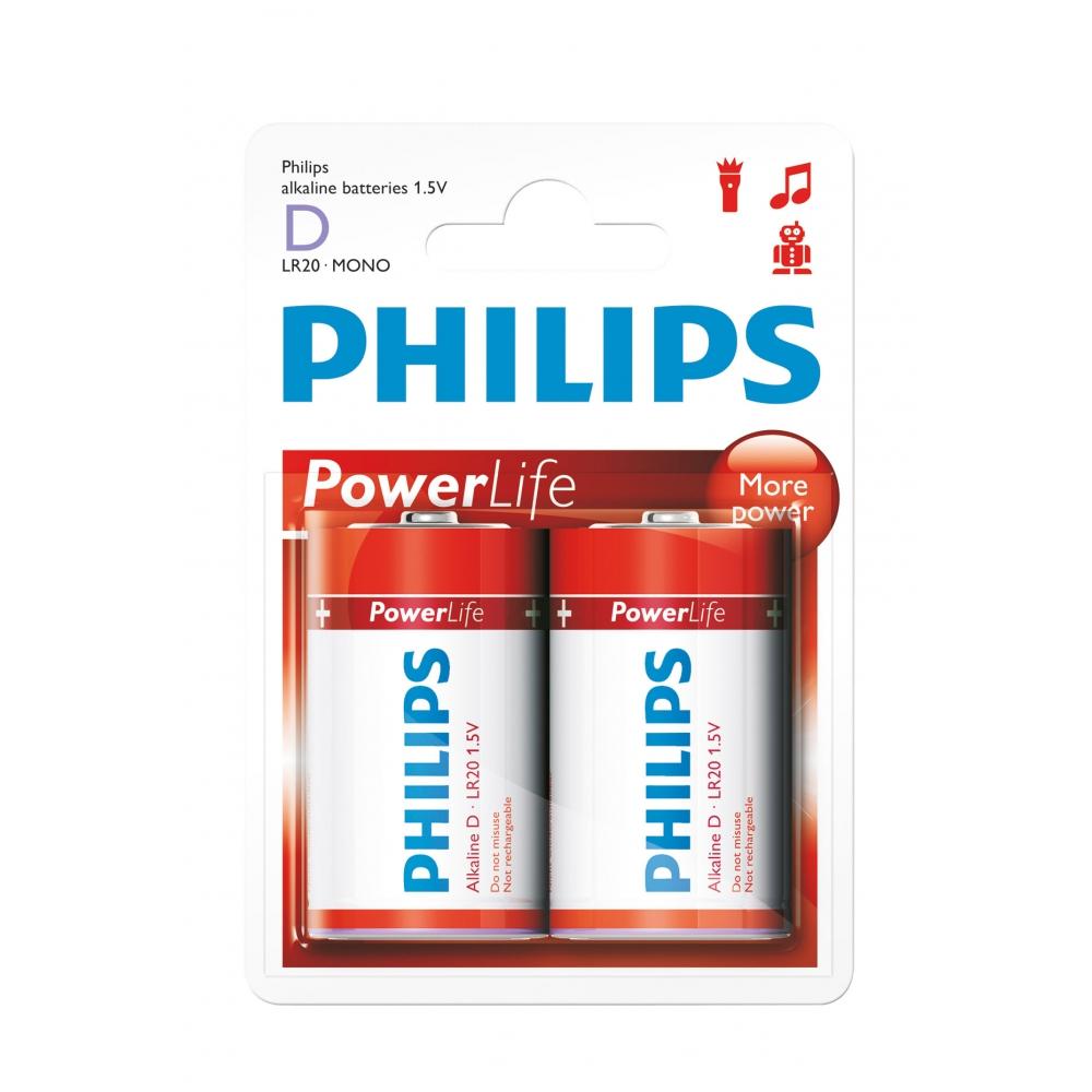 2 pilhas grandes (tipo D) Power Life alcalinas - kit com 2 pilhas  - Philips