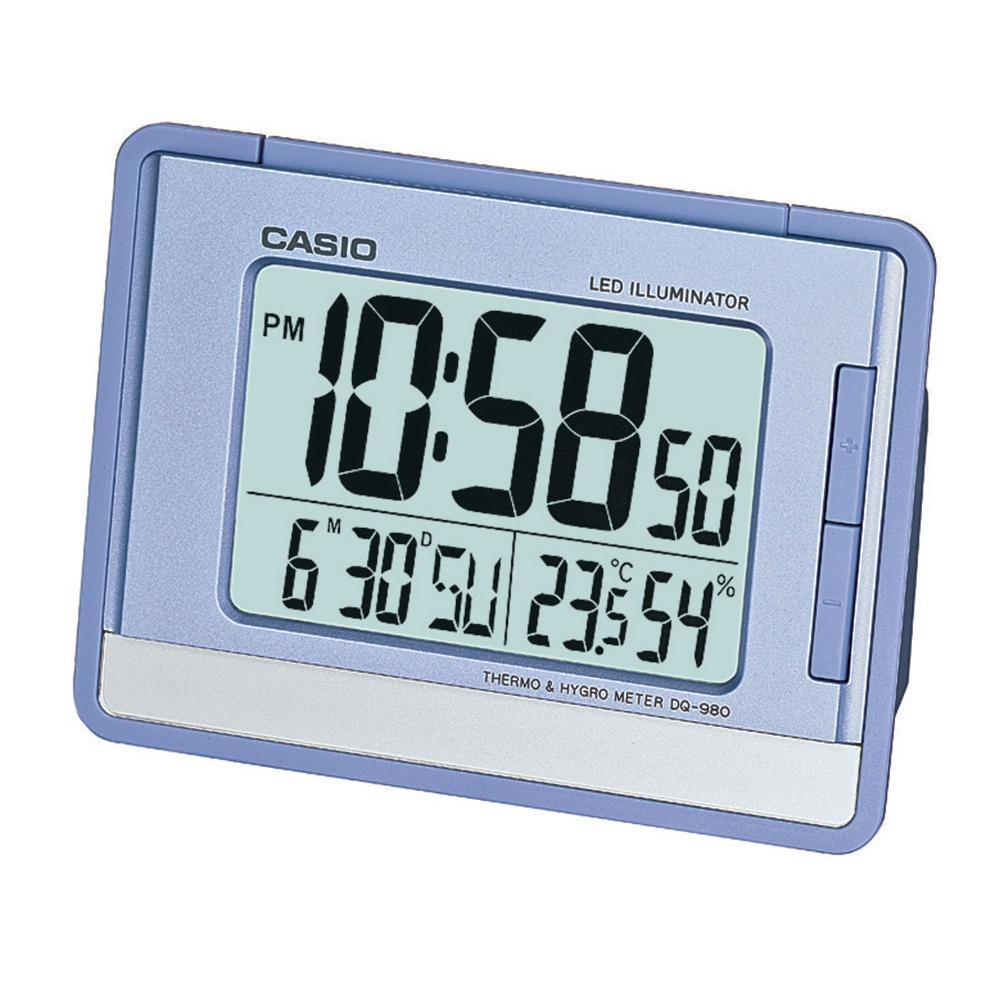 Relógio despertador digital Casio Azul, com calendário e termômetro DQ-980-2DF