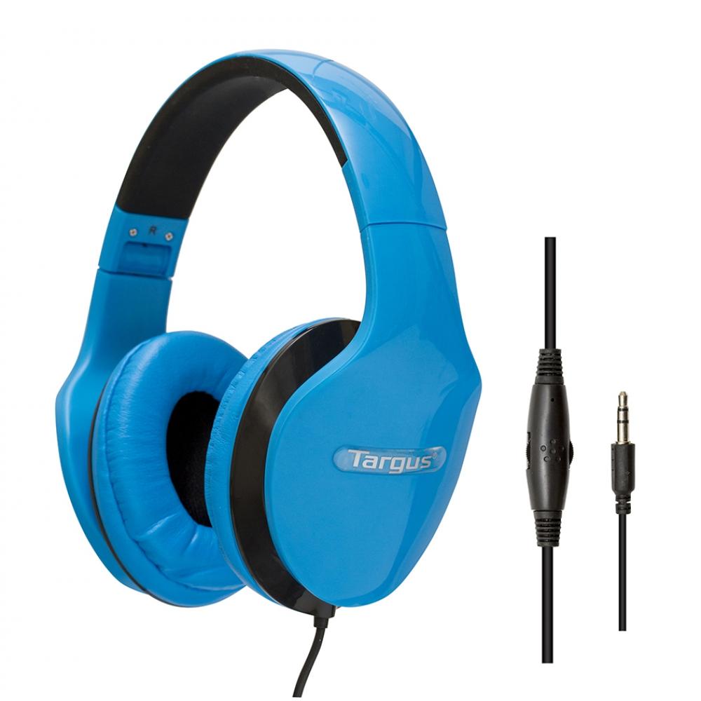 Fone de ouvido tipo headphone dobrável Azul, com controle de volume  - TARGUS