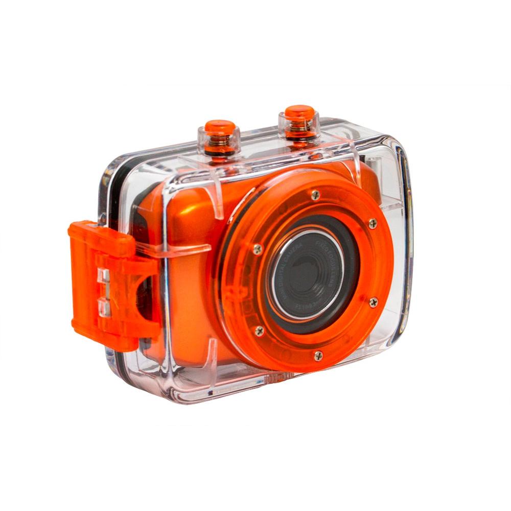Câmera Filmadora de Ação HD Vivitar  Laranja, com Caixa Estanque e Acessórios- DVR783HD