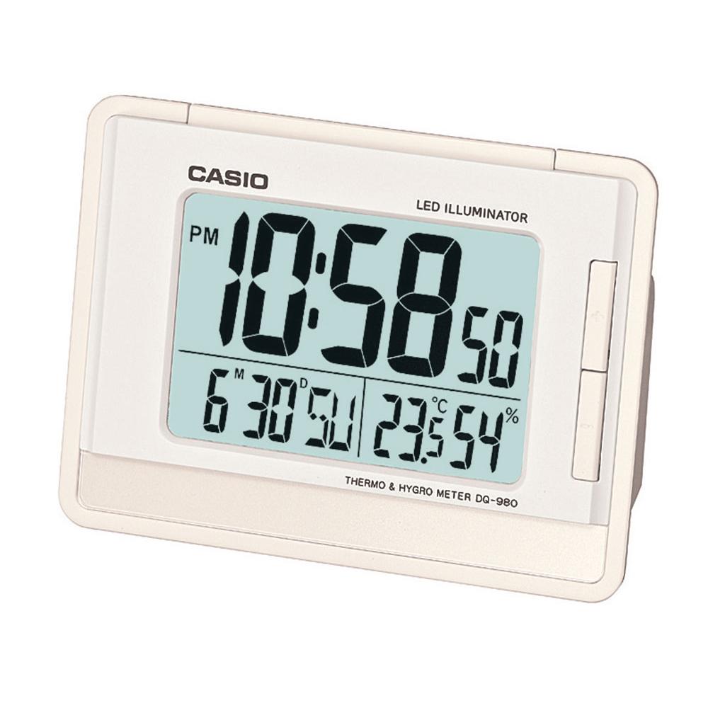 Relógio despertador digital Casio Branco, com calendário e termômetro DQ-980-7DF