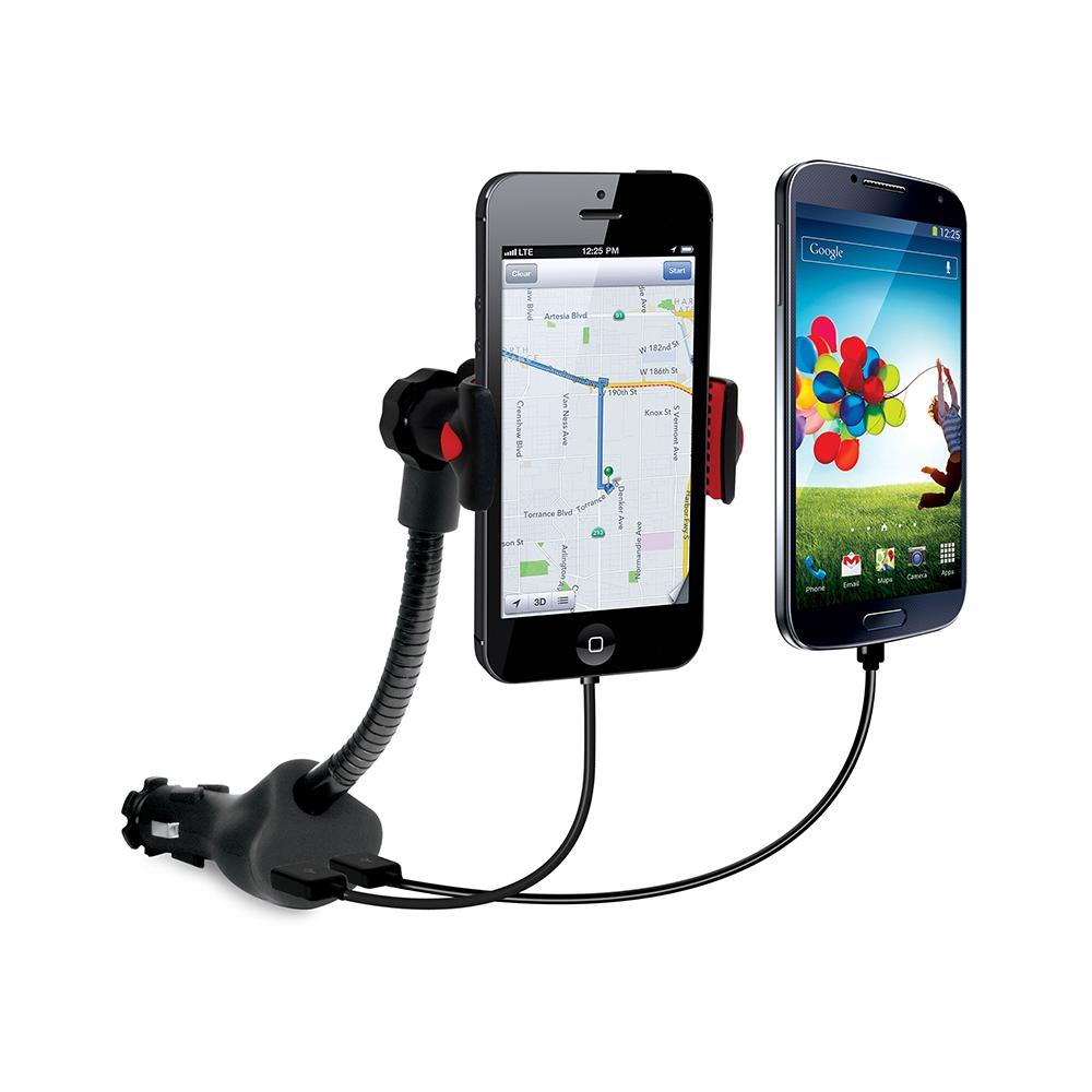 Suporte para Smartphones com carregador duplo veicular via USB - ISOUND