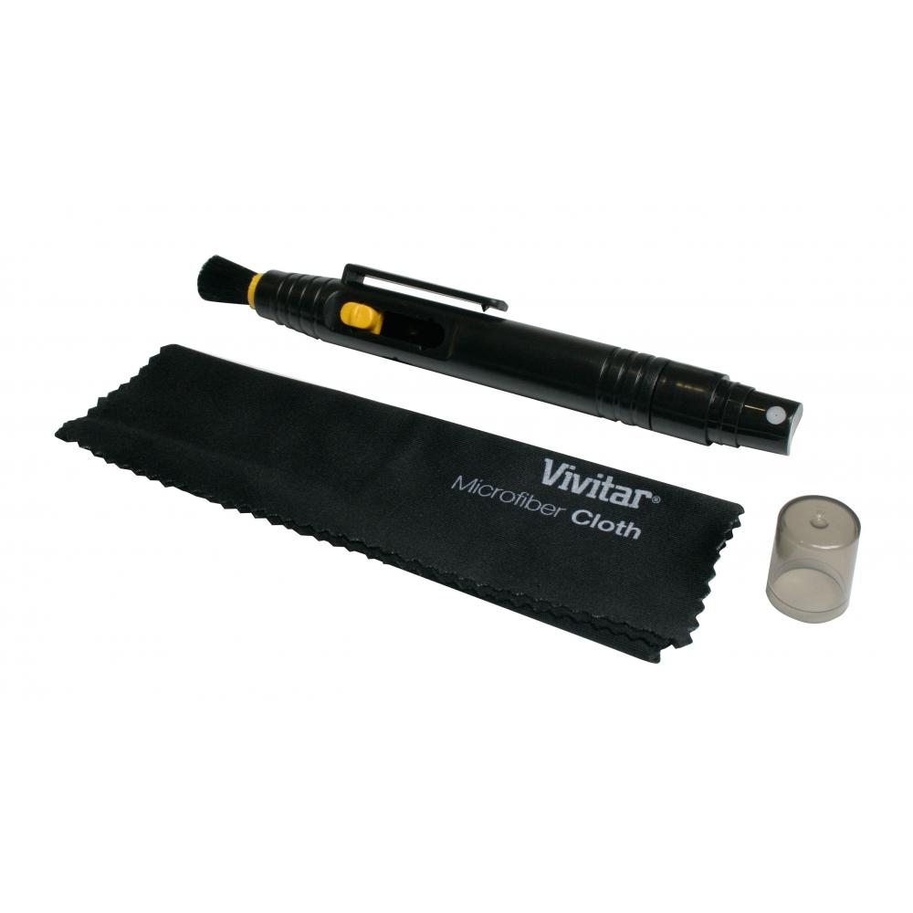 Kit de limpeza com flanela e pincel retrátil com fluido  - VIVITAR