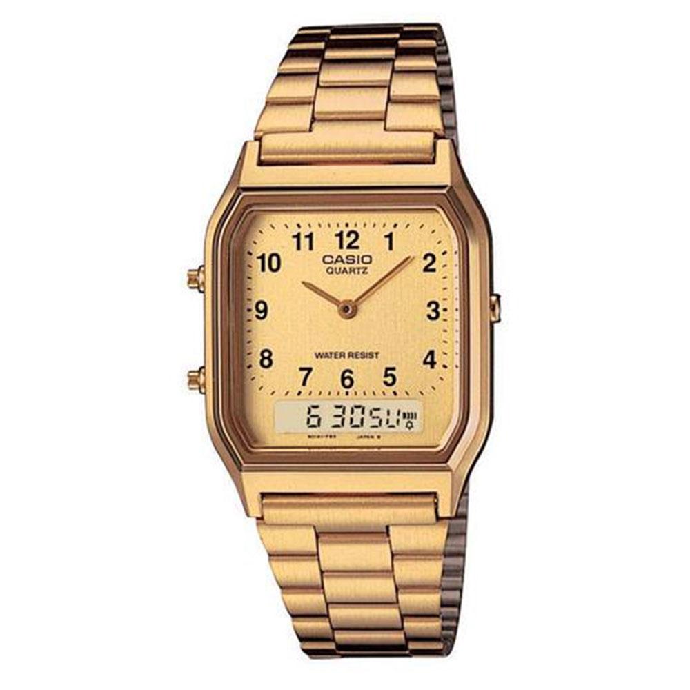 Relógio Feminino Anadigi Casio Vintage AQ-230GA-9BMQ - Dourado
