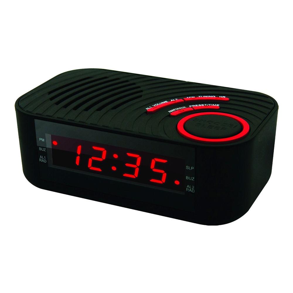 Rádio Relógio Digital Coby com 2 Alarmes e Entrada Auxiliar - CBCR100