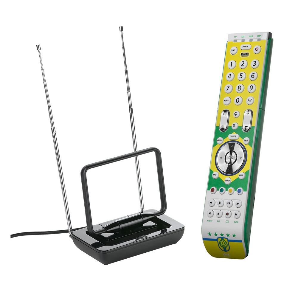 Kit c/ Antena interna de TV / UHF / VHF / FM e Controle remoto universal - ONE FOR ALL