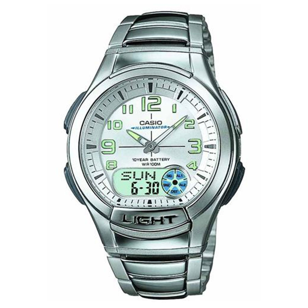 Relógio Masculino Anadigi Casio Standard AQ-180WD-7BV - Prata/Branco