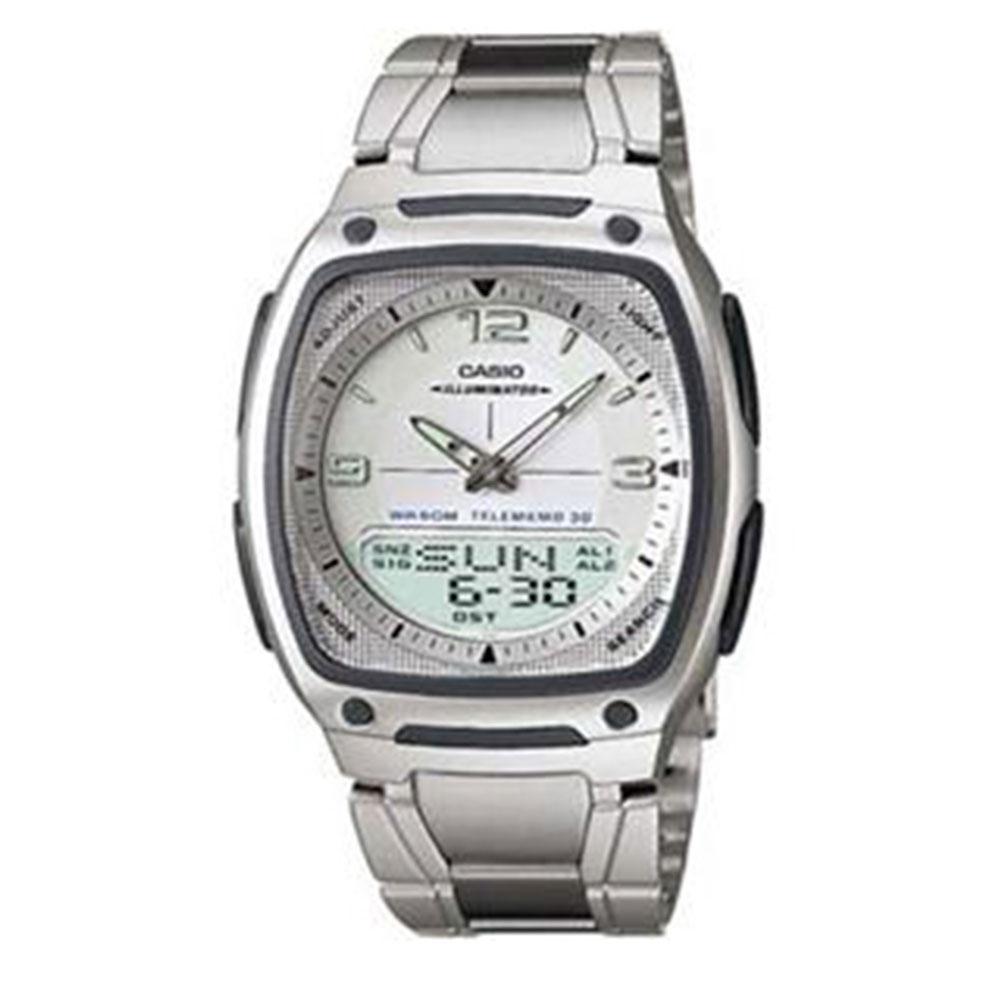 Relógio Masculino Anadigi Casio Standard AW-81D-7AV- Inox/Branco