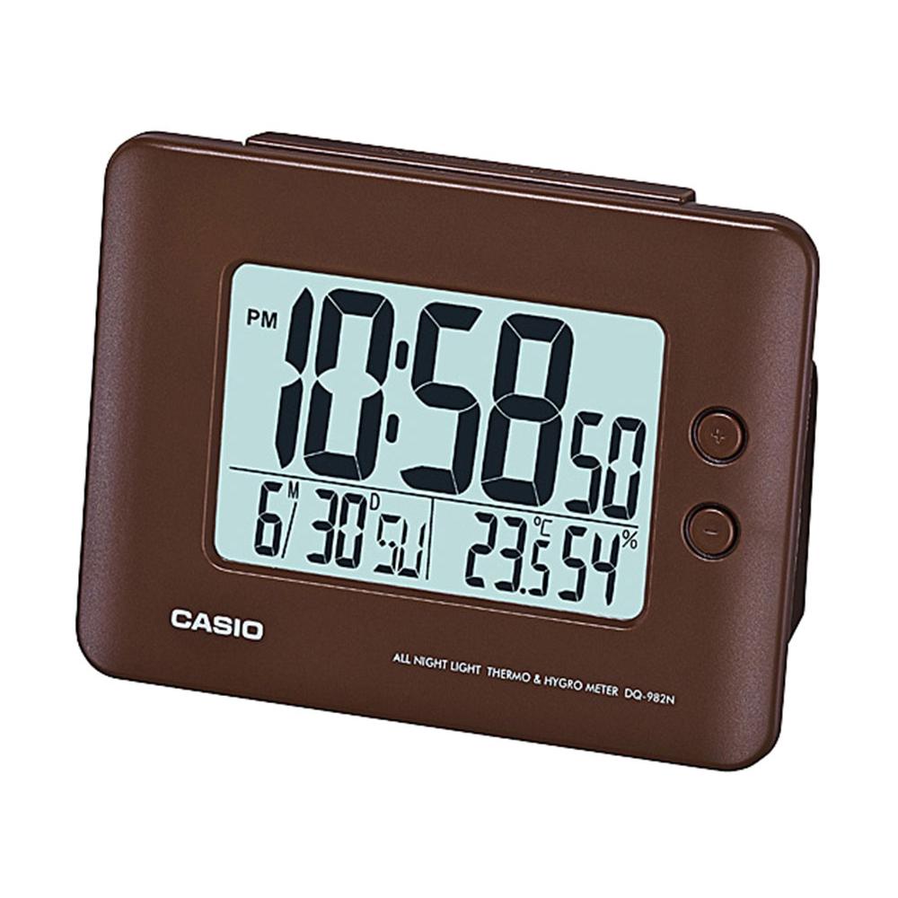 Relógio despertador digital Casio Marrom, com calendário e termômetro DQ-982N-5DF