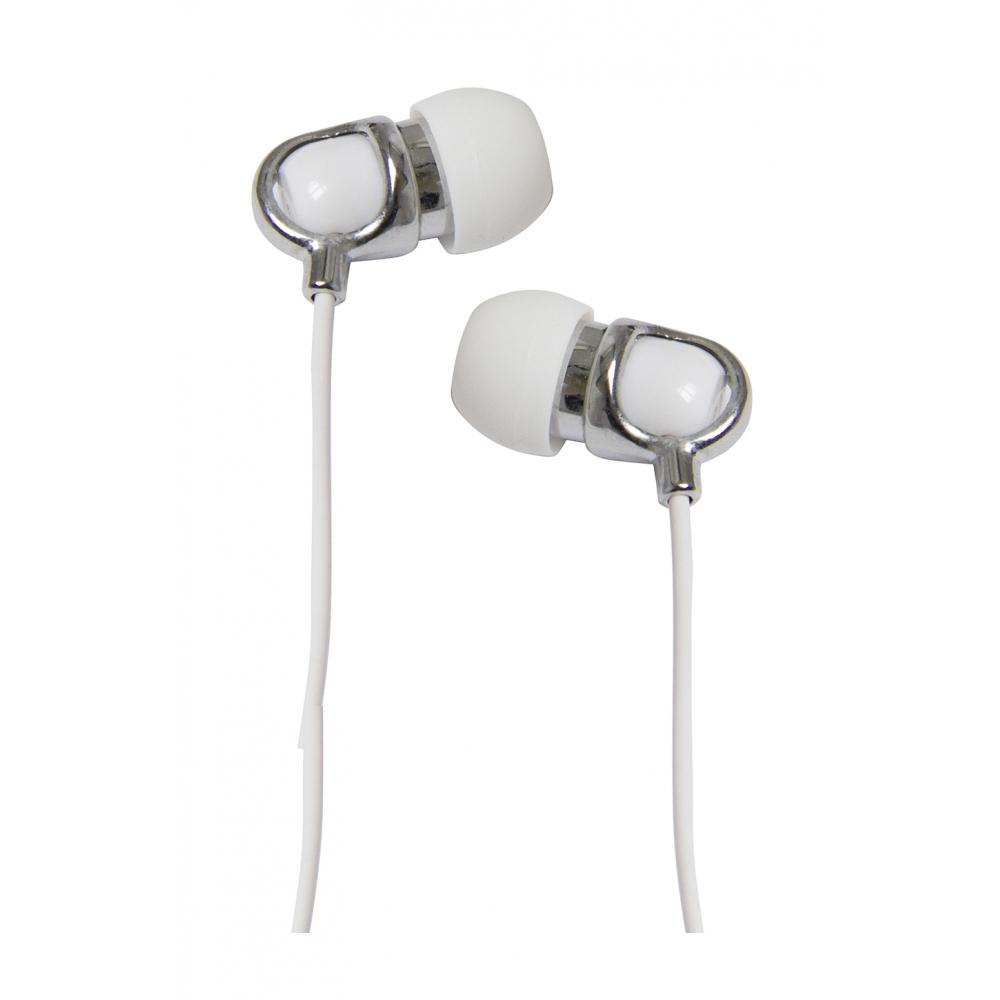 Fone de ouvido tipo earphone com microfone no cabo Branco  - VIVITAR