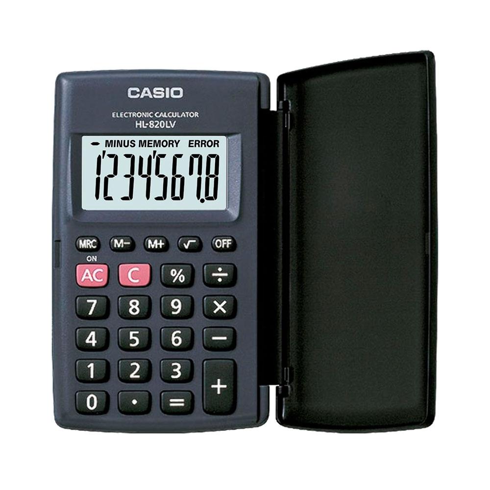 Calculadora Casio de bolso, visor XL, 8 dígitos e deslig. Automático HL-820LV-BK  - CASIO