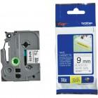 Fita para Rotulador Brother TZES221, 9mm, Preto sobre Branco Ecologica Extra Forte