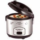 Panela Elétrica Mondial Pratic Rice & Vegetables Cooker PE-01, 10 Xícaras, 700W, 110V - Preto e Inox