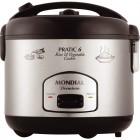 Panela Elétrica Mondial Pratic Rice & Vegetables Cooker PE-02, 6 Xícaras, 500W, 220V - Preto e Inox
