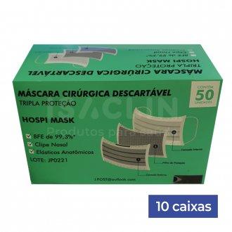 Imagem - 10 caixas de Máscara Cirúrgica Tripla Descartável