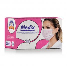 Imagem - Máscara Tripla Descartável com Elástico (Rosa) - MEDIX